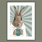 Rabbit wall art, Gift for tea drinker, Gift for coffee lover, Scandi cottontail