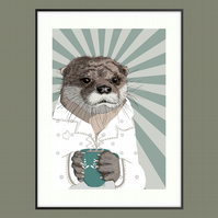 Otter wall art illustration - Woodland nursery wall art - British wildlife print