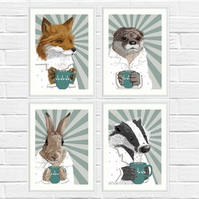 Christmas gift for wildlife lover - Fox, otter, badger and rabbit art print set