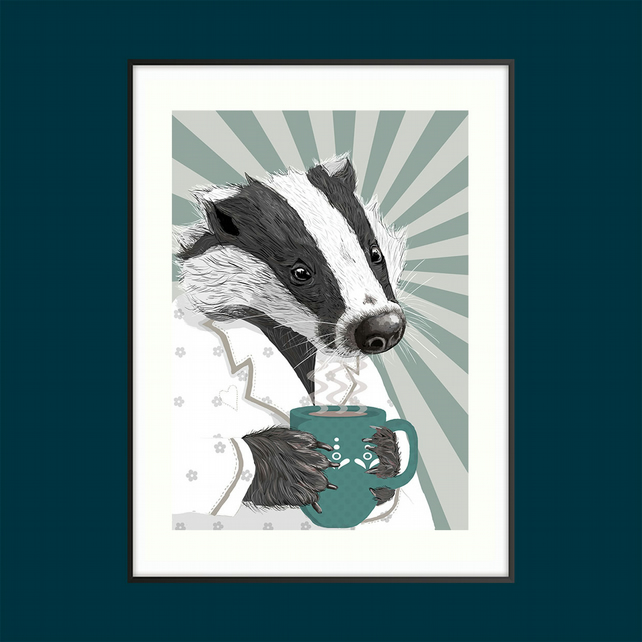 Badger art, Animal art nursery decor, Wildlife Bedroom decor, Badger lover gift