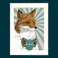 Scandi Fox illustration - woodland themed nursery art - Tea gift idea