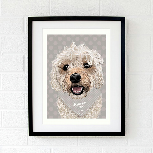 Cavadoodle wall art print - Cavapoo gift for him - Cavachon gift - Cavoodle art