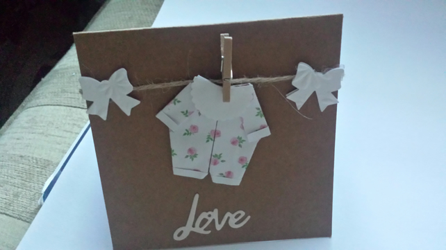 origami baby onesie on washing line card