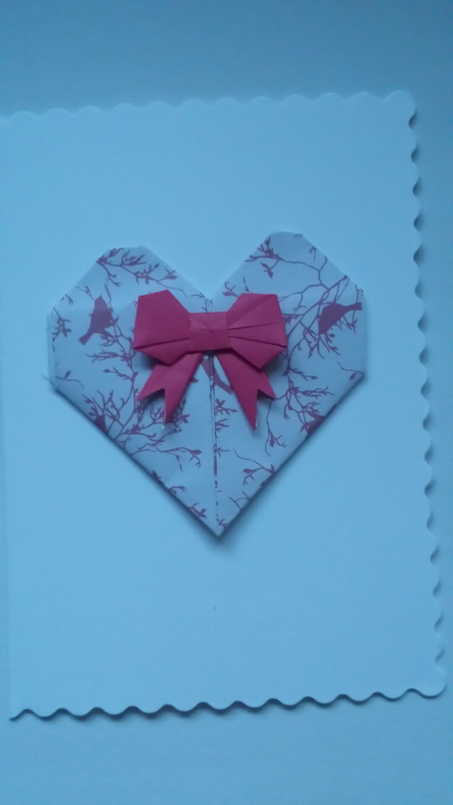 origami heart and bow card