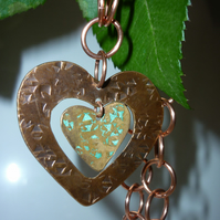 Copper Heart with swinging heart Necklace.