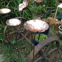 Copper topped bird bath or feeder stake
