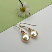Pearl, Crystal & Sterling Silver Earrings. Bridesmaid, Bride, Mother gift