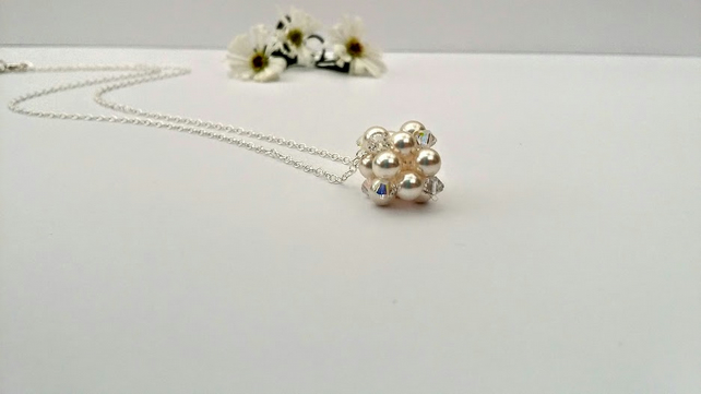 Pearl & Crystal Cluster necklace on Sterling Silver chain. Bridal Bridesmaid