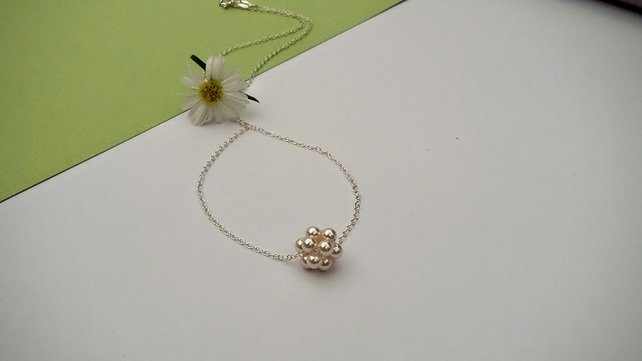 Pearl Cluster Necklace on a Sterling Silver Chain