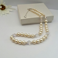 Bridal Pearl & Crystal necklace, finished with sterling silver.