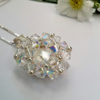 Crystal & Coin Pearl Pendant on a  Sterling Silver Chain