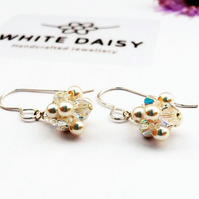 Pearl & Crystal Earrings. On Sterling Silver Ear Wires