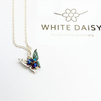 Sterling Silver Butterfly Pendant, adorned with Swarovski Cystals
