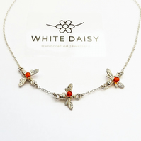 Bees in flight.  Sterling Silver & Amber necklace
