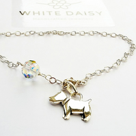Sterling Silver Dog Charm Bracelet with a little sparkle