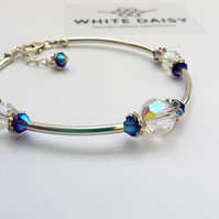 Sterling Silver Bracelet with a splash of beautiful blue Swarovski crystal