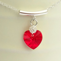 Red Swarovski Heart Pendant on a Sterling Silver Bail