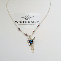 Butterfly Pendant - Sterling Silver with a splash of Swarovski Crystal