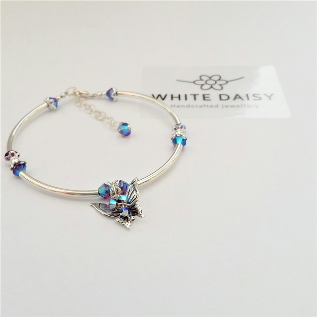 Butterfly Bracelet - Sterling silver adorned with a sparkle of Swarovski crystal