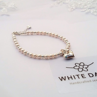 Bridal bracelet, Sterling silver heart & pearls