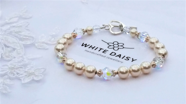 Bracelet, Swarovski Cream Pearls, Crystals and Sterling Silver