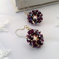 Amethyst Swarovski crystal,earrings with coin pearl centre