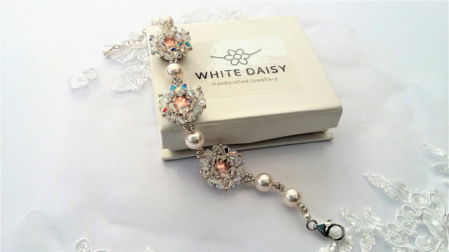 Bridal statement bracelet Crystal, Pearl & Sterling Silver.