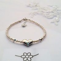 Pearl and sterling silver heart  bracelet