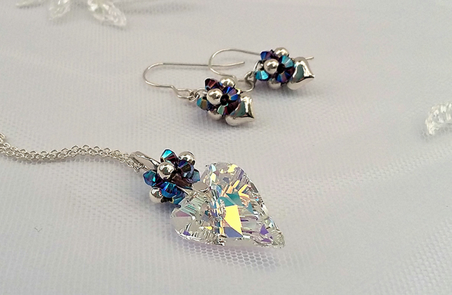 Swarovski Crystal Heart Pendant with Sterling silver chain