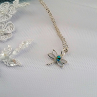 STERLING SILVER DRAGONFLY PENDANT WITH A SPLASH OF CRYSTAL