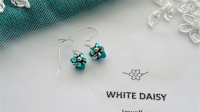 Turquoise crystal earrings with sterling silver earwires