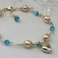 Pearl, Aquamarine and Sterling Silver Bracelet with a Sterling Silver Heart