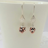 Sterling Silver and Rose Gold Earrings