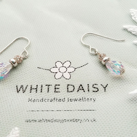 Dropper earrings of Swarovski crystal finished with a filigree bead