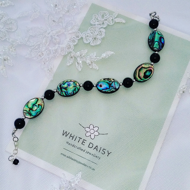 Abalone Shell, black onyx and sterling silver bracelet