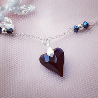 Navy Blue Swarovski crystal heart and Sterling silver necklace