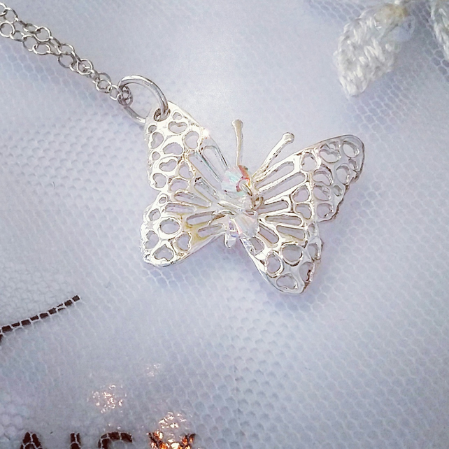 Butterfly pendant, filigree sterling Silver, adorned with Swarovski crystals