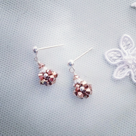 Swarovski Crystal Rose Gold  Bicones & Sterling Silver Earrings