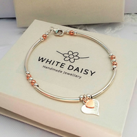 Double heart sterling Silver and Rose Gold Vermeil - bracelet