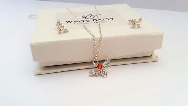 Sterling Silver & Amber Pendant with matching Ear Studs