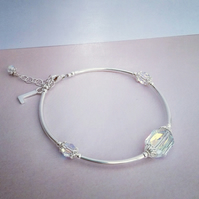 Personalised Emerald Cut Swarovski Crystal and Sterling Silver Bracelet