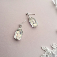Sparkly Emerald Cut Earrings Finished With Sterling Silver