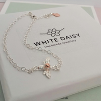 Sterling silver bee chain bracelet adorned with rose gold. Free Delivery