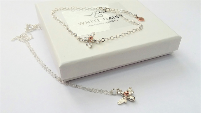 Bee Pendant & Bracelet Set. - Sterling Silver