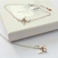 Sterling Silver Bee Pendant and Bracelet Set.