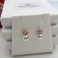 ROSE GOLD CRYSTAL AND STERLING SILVER TEARDROP EARRINGS