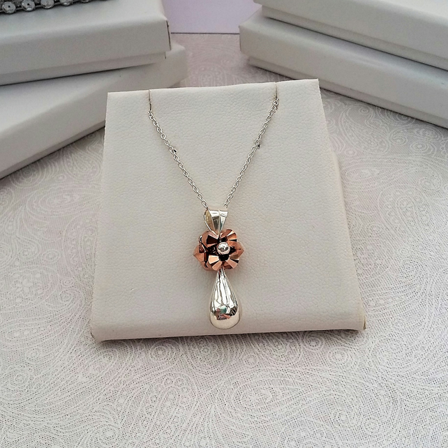 Sterling Silver and Rose Gold Pendant