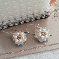 Daisy earrings in sterling silver, Swarovski crystals and pearls