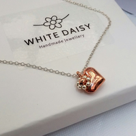 Rose Gold Vermeil and Sterling Silver Heart Pendant