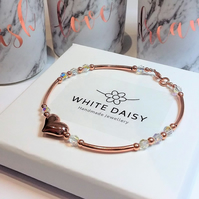 Rose gold heart bracelet with a sparkle of Swarovski